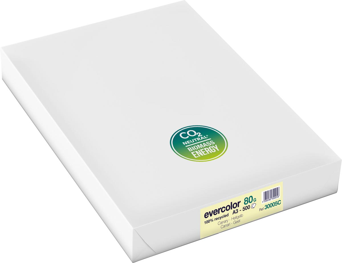 Clairefontaine Evercolor gekleurd gerecycleerd papier, A3, 80 g, 500 vel, geel