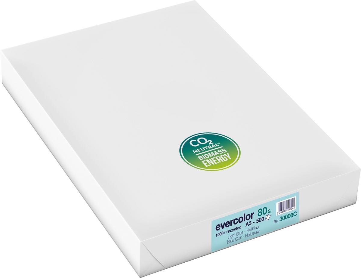 Clairefontaine Evercolor gekleurd gerecycleerd papier, A3, 80 g, 500 vel, helblauw