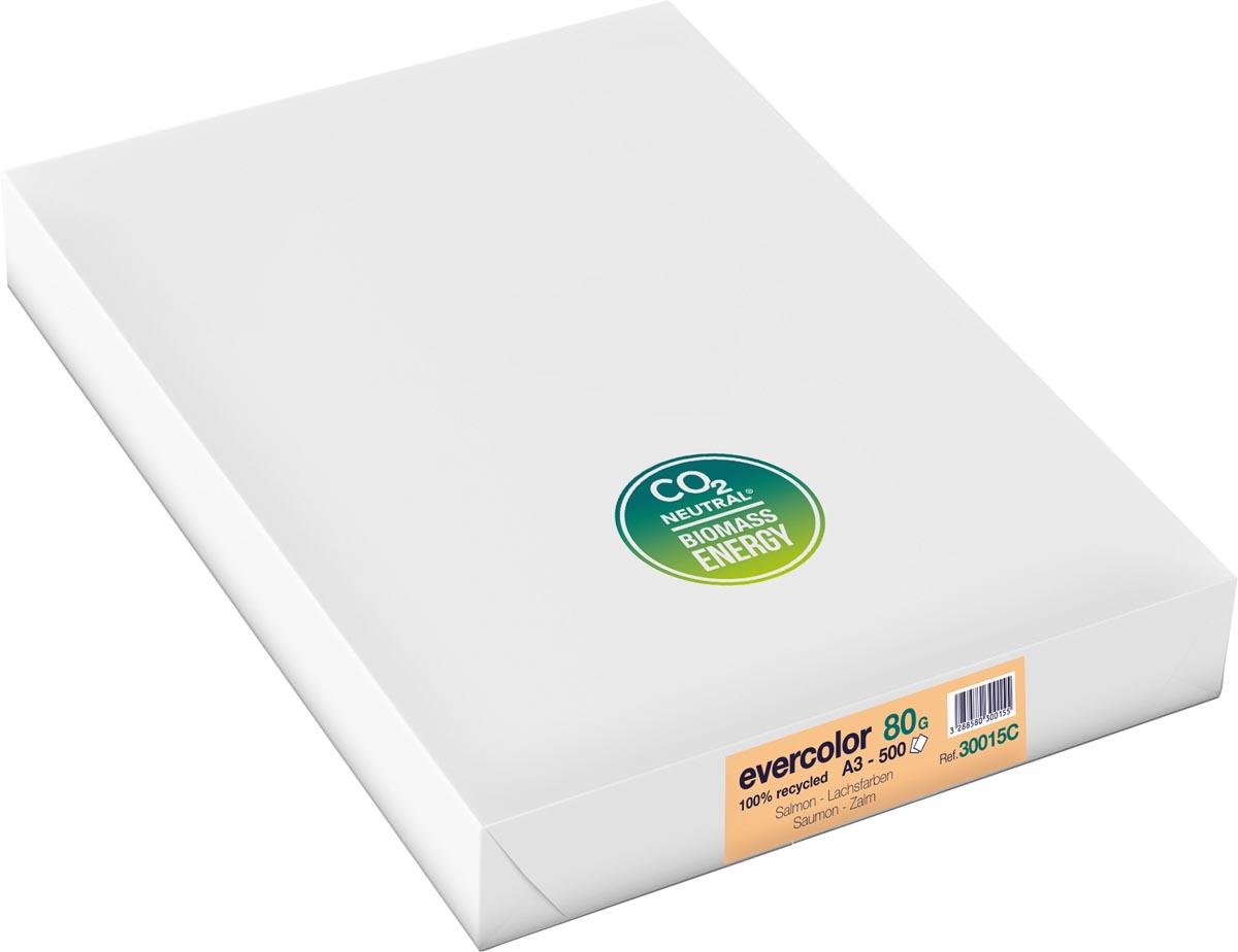 Clairefontaine Evercolor gekleurd gerecycleerd papier, A3, 80 g, 500 vel, zalm