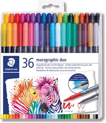 Staedtler brushpen Marsgraphic duo, doos van 36 stuks in geassorteerde kleuren