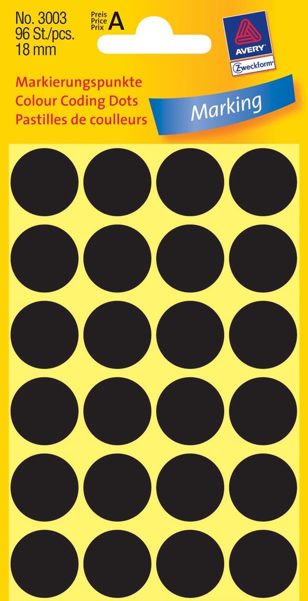 Avery Ronde etiketten diameter 18 mm, zwart, 96 stuks