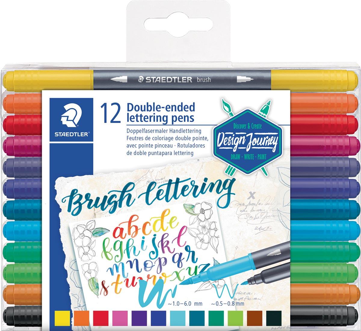 Staedtler brushpen Brush letter duo, doos van 12 stuks in geassorteerde kleuren