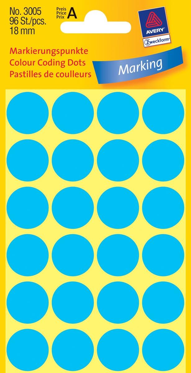Avery Ronde etiketten diameter 18 mm, blauw, 96 stuks