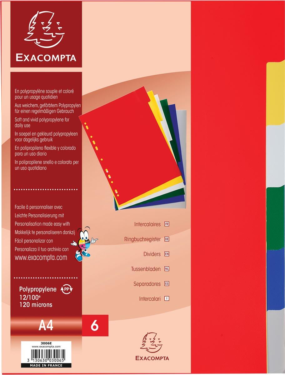 Exacompta tabbladen voor ft A4, uit PP 12/100e, 6 tabs, geassorteerde kleuren
