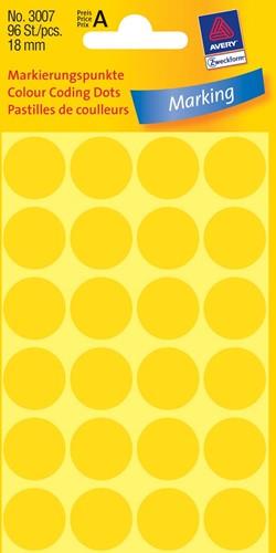 Avery Ronde etiketten diameter 18 mm, geel, 96 stuks