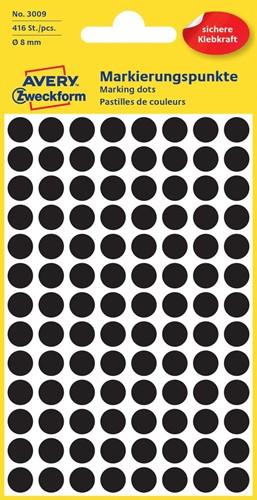 Avery Ronde etiketten diameter 8 mm, zwart, 416 stuks