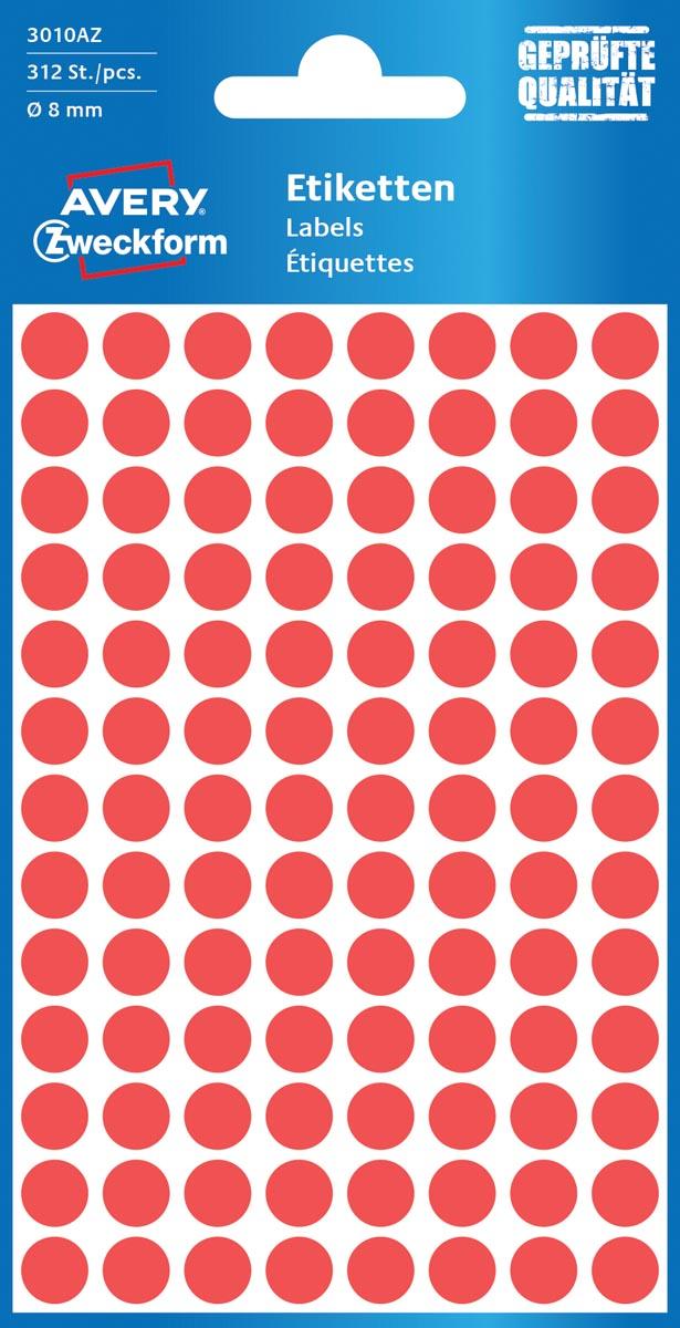 Avery Ronde etiketten diameter 8 mm, rood, 416 stuks