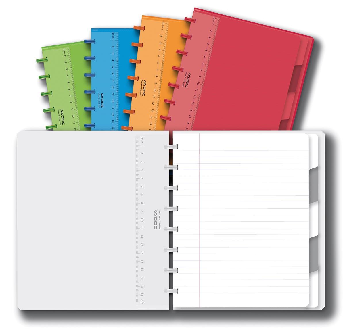 Adoc Colorlines schrift, ft A5, 144 bladzijden, gelijnd, geassorteerde kleuren