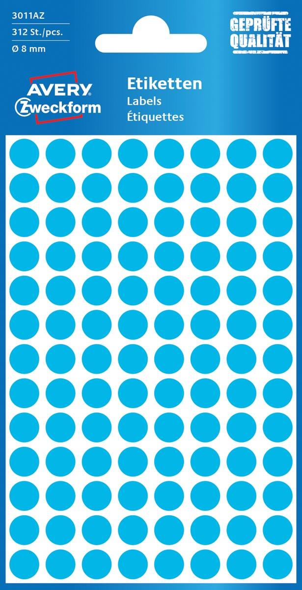 Avery Ronde etiketten diameter 8 mm, blauw, 416 stuks