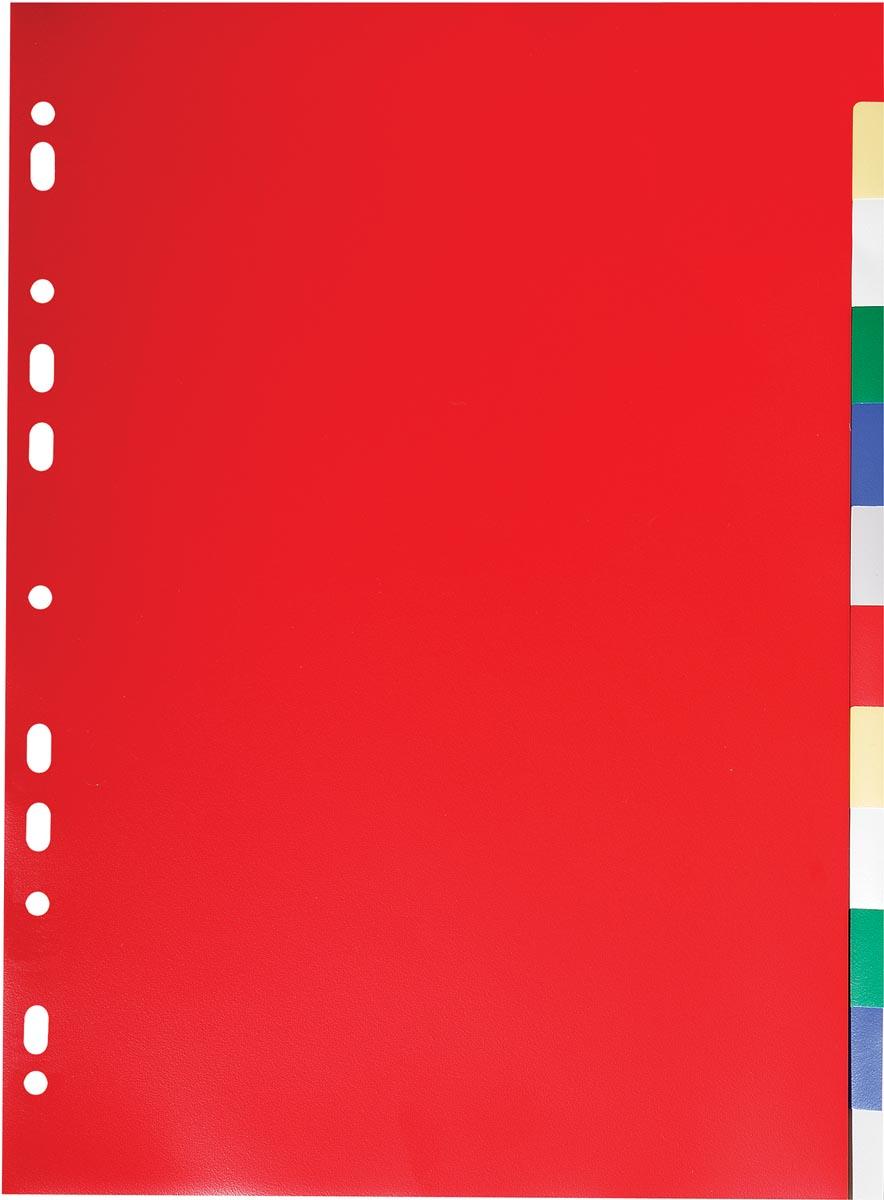 Exacompta tabbladen voor ft A4, uit PP 12/100e, 12 tabs, geassorteerde kleuren