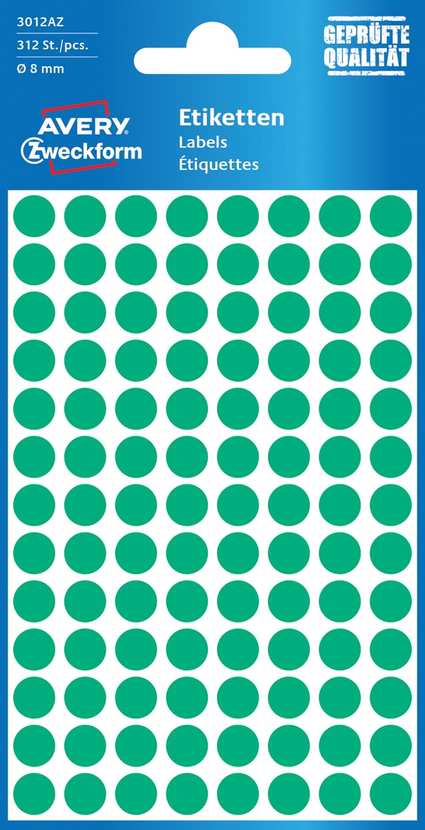 Avery Ronde etiketten diameter 8 mm, groen, 416 stuks