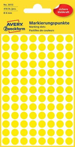 Avery Ronde etiketten diameter 8 mm, geel, 416 stuks