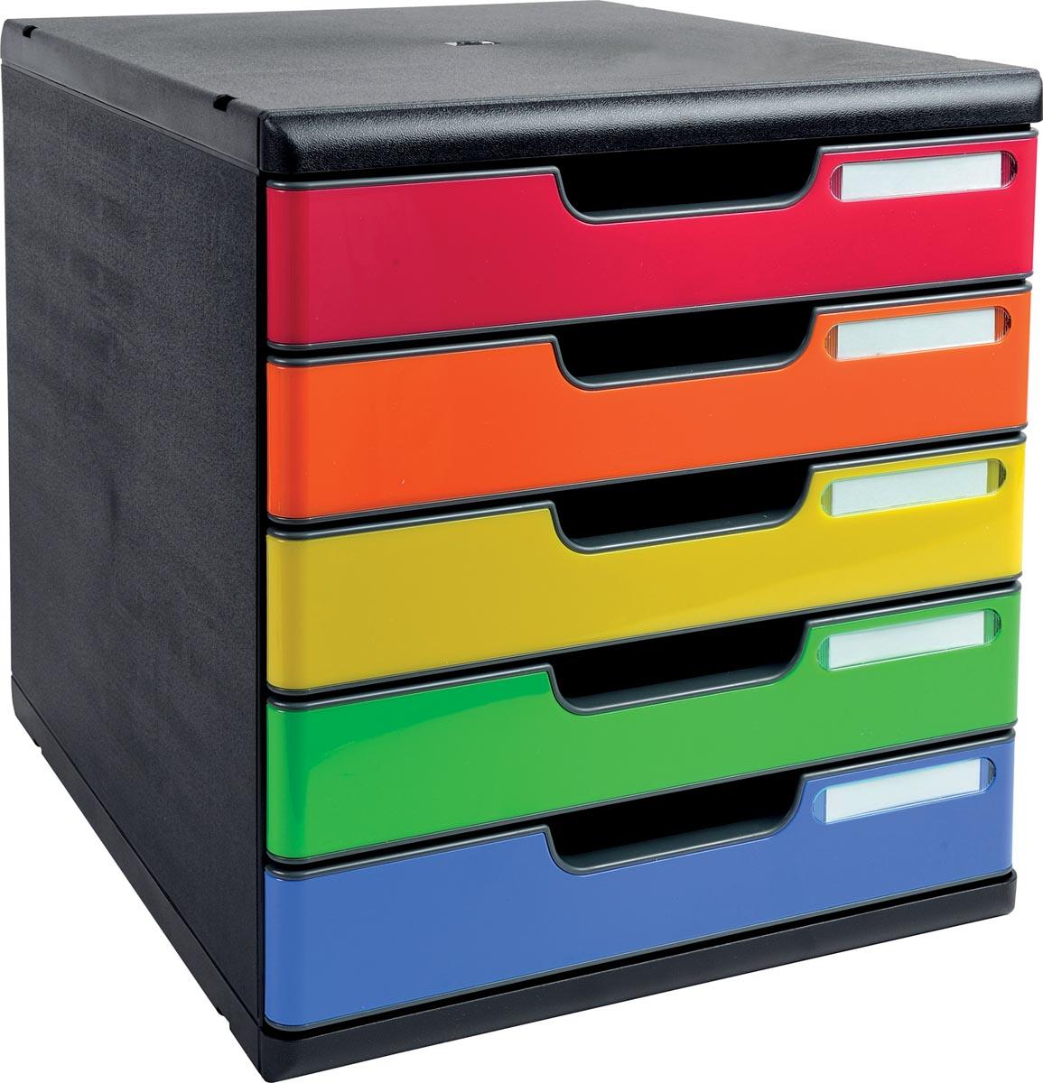 Exacompta Modulo ladenblok A4 met 5 gesloten laden Iderama, zwart/harlekijn glossy