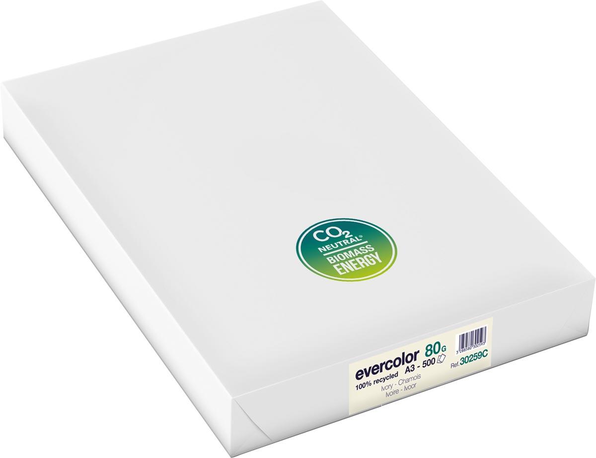 Clairefontaine Evercolor gekleurd gerecycleerd papier, A3, 80 g, 500 vel, ivoor