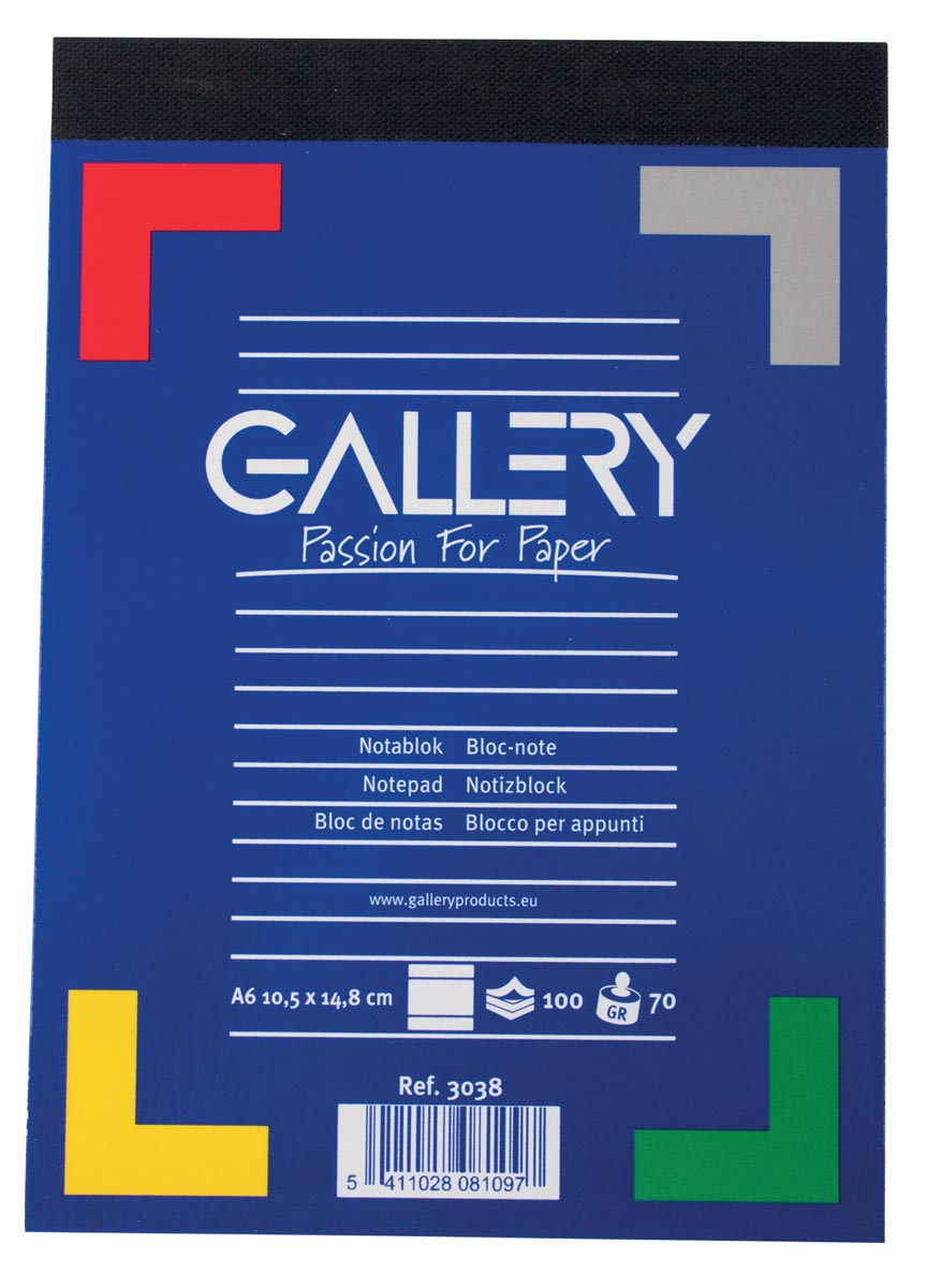 Gallery Gallery notitieblok ft 10,5 x 14,8 cm (A6), gelijnd, 70 g-m (3038)