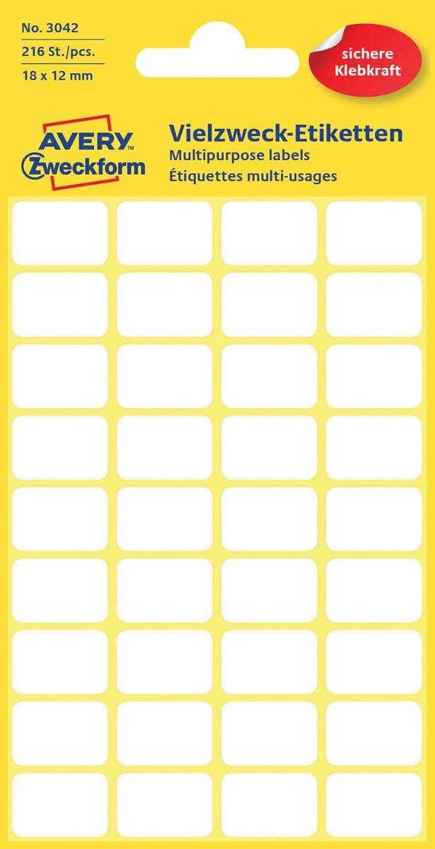Avery Witte etiketten ft 18 x 12 mm (b x h), 216 stuks