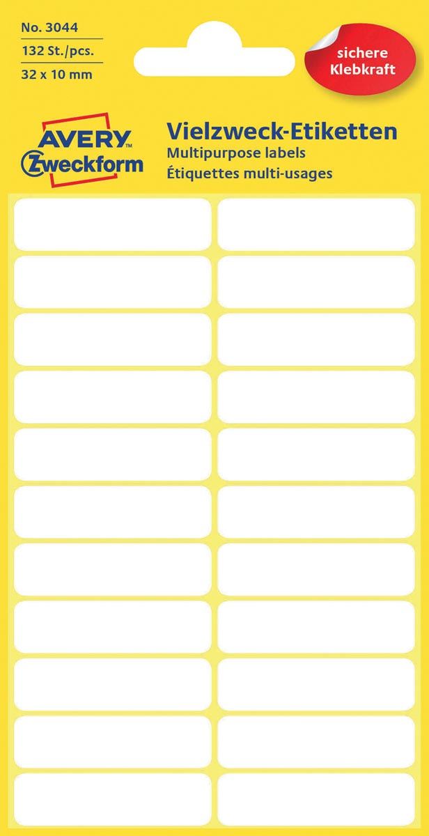Avery Witte etiketten ft 32 x 10 mm (b x h), 132 stuks