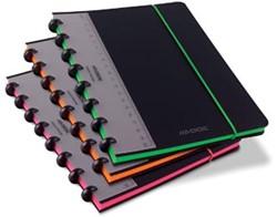 Adoc schrift Coloredge, ft A5, commercieel gelijnd, met rode kantlijn, 144 bladzijden, assorti kleuren