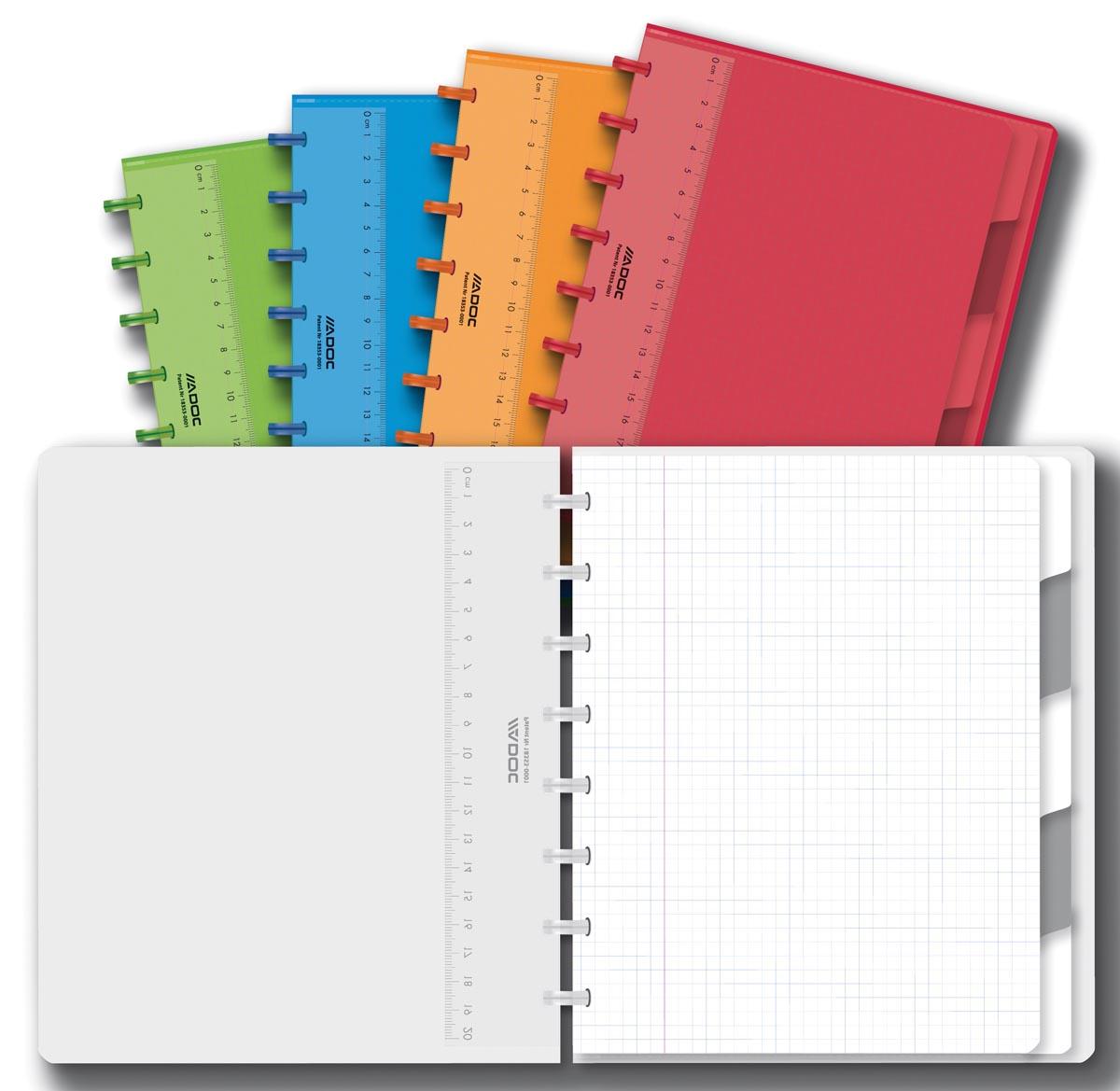 Adoc Colorlines schrift, ft A5, 144 bladzijden, geruit 5 mm, geassorteerde kleuren