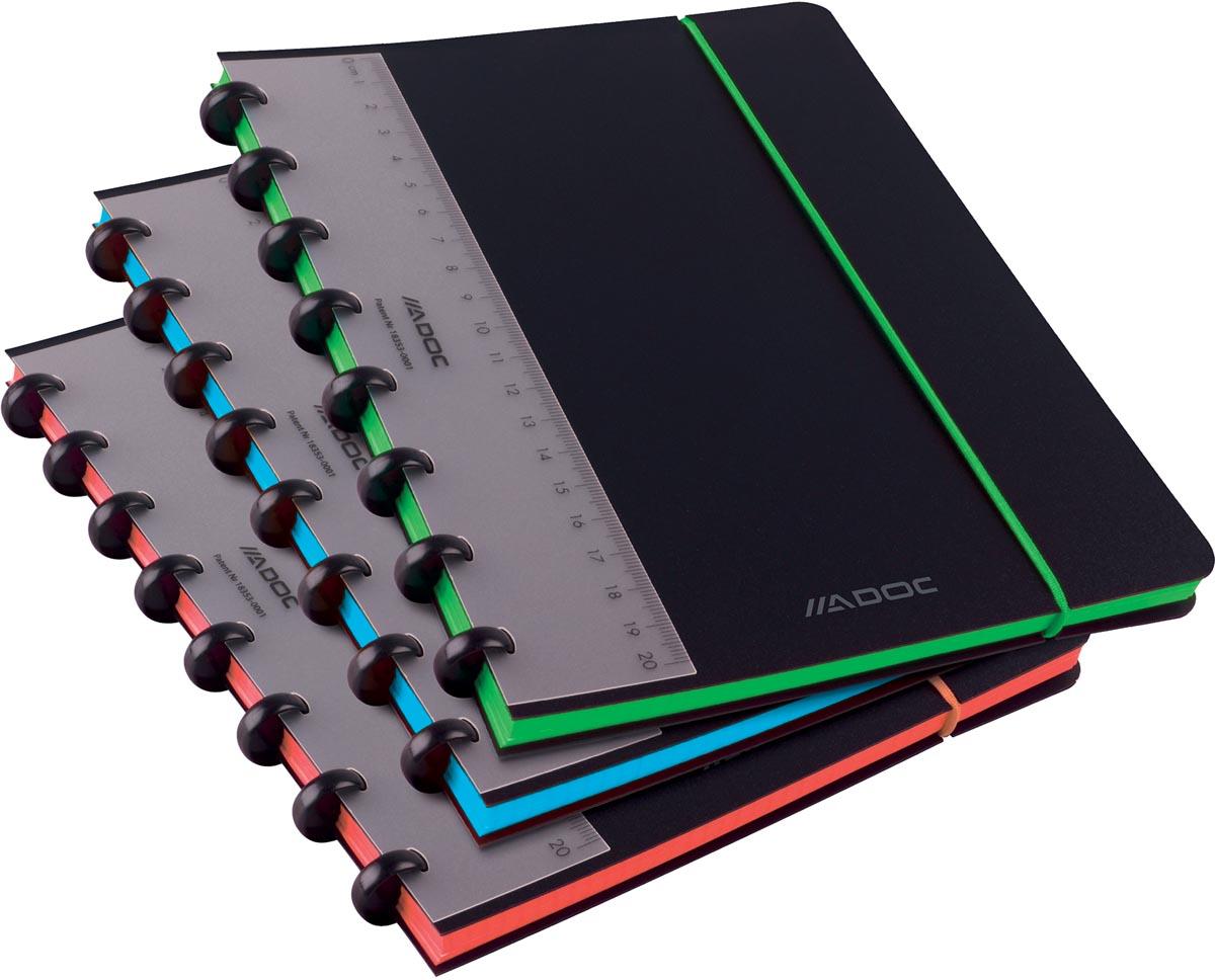 Adoc schrift Coloredge, ft A5, geruit 5 mm, met rode kantlijn, 144 bladzijden, geassorteerde kleuren