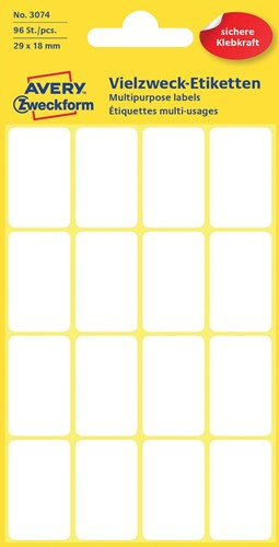 Avery Witte etiketten ft 29 x 18 mm (b x h), 96 stuks