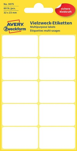 Avery Witte etiketten ft 32 x 23 mm (b x h), 60 stuks