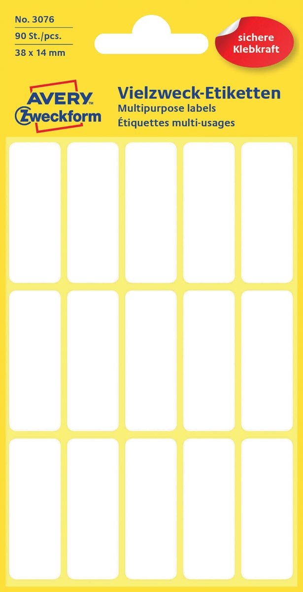 Avery Witte etiketten ft 38 x 14 mm (b x h), 90 stuks
