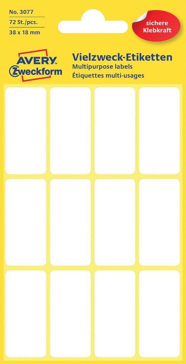 Avery Witte etiketten ft 38 x 18 mm (b x h), 72 stuks