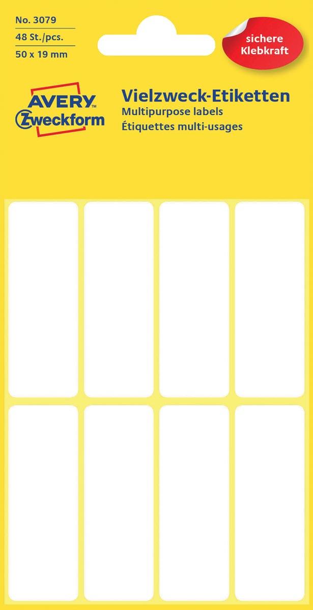 Avery Witte etiketten ft 50 x 19 mm (b x h), 48 stuks