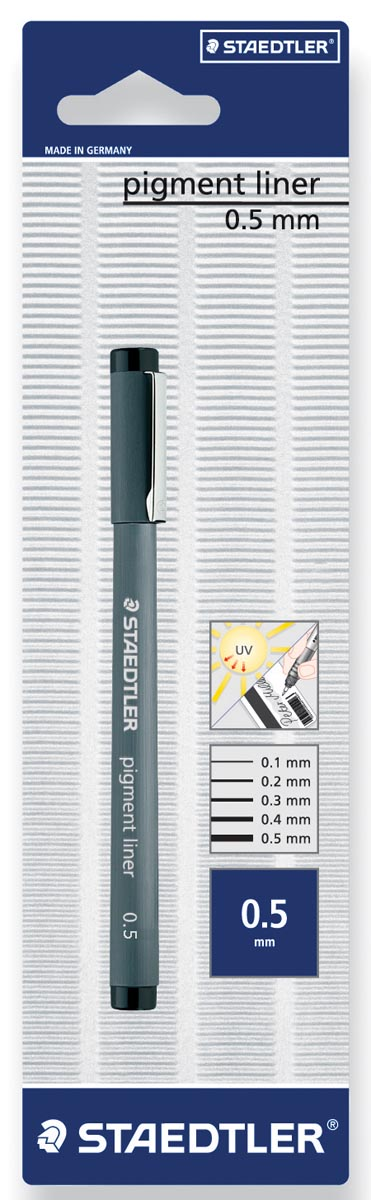 Staedtler fineliner Pigment Liner 0,5 mm, op blister