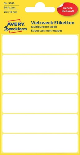Avery Witte etiketten ft 76 x 19 mm (b x h), 36 stuks