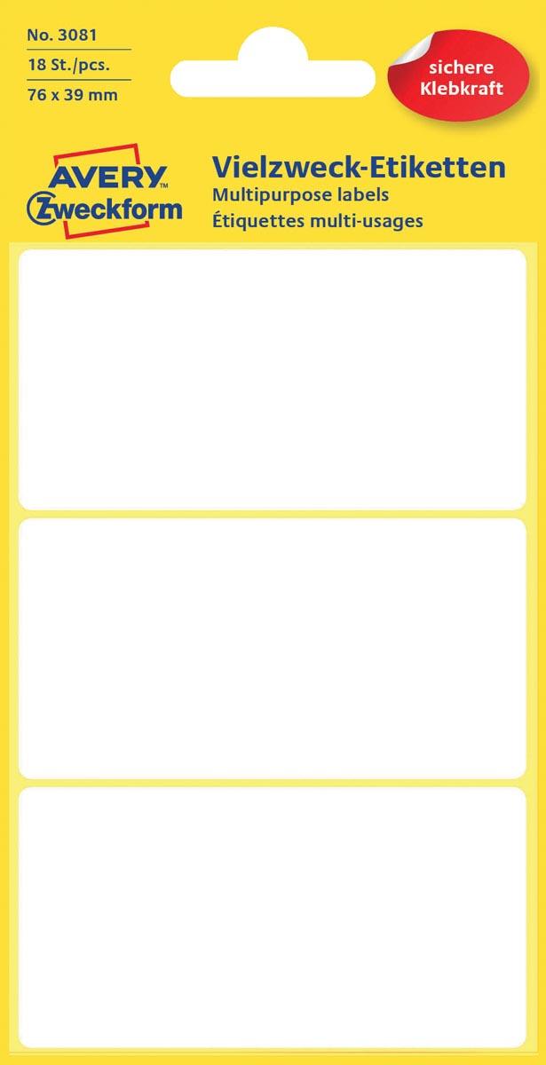 Avery Witte etiketten ft 76 x 39 mm (b x h), 18 stuks