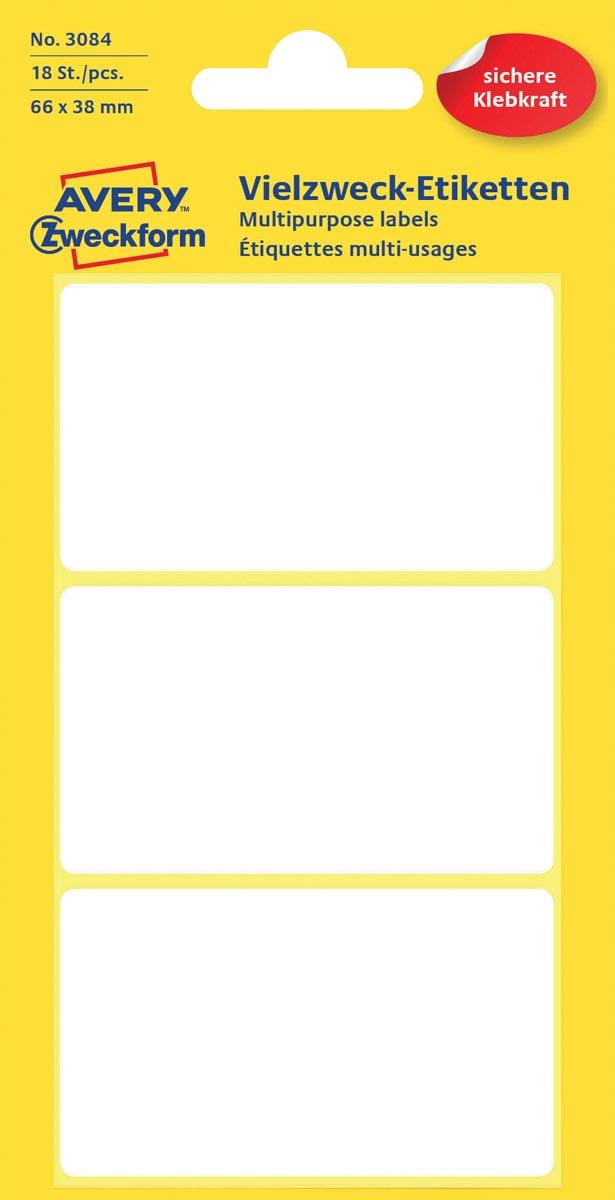 Avery Witte etiketten ft 66 x 38 mm (b x h), 18 stuks