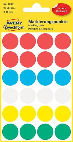 Avery Ronde etiketten diameter 18 mm, geassorteerde kleuren, 96 stuks