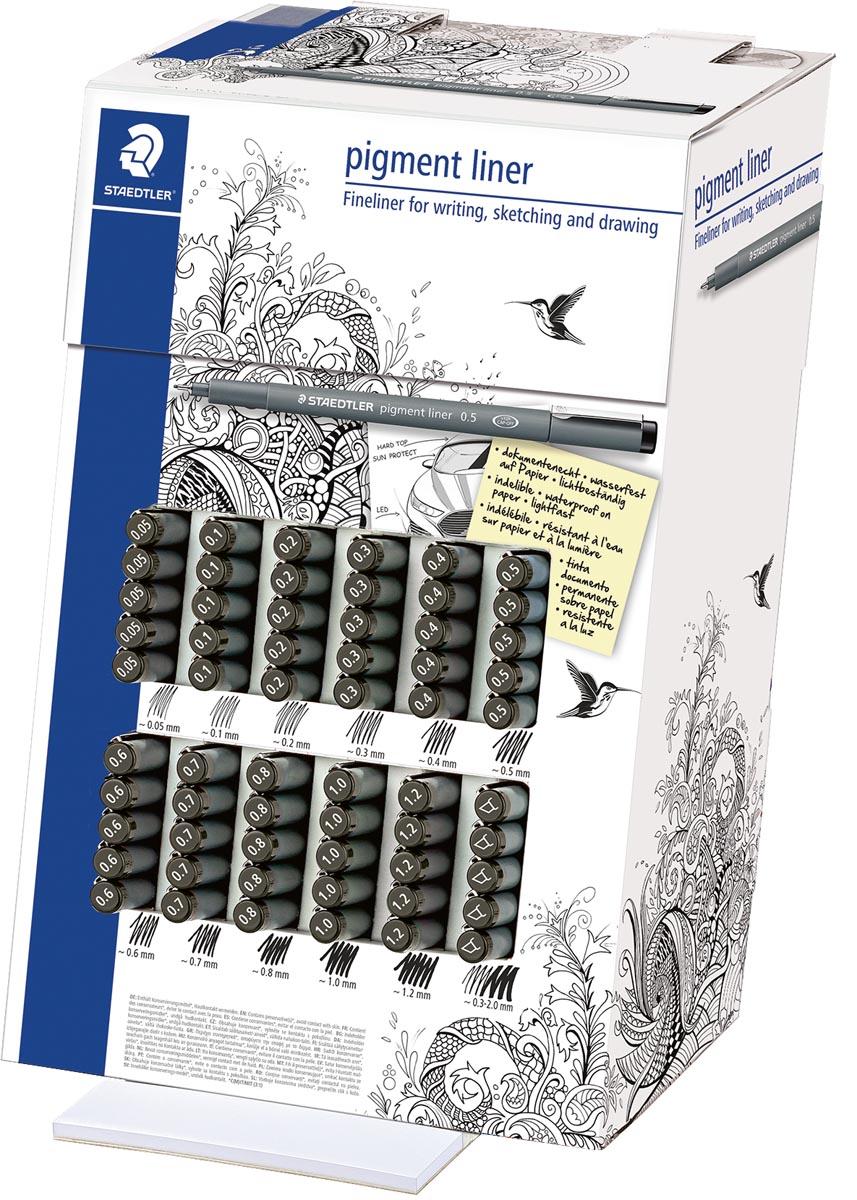 Staedtler pigment liner 308 fineliner, display van 120 stuks, zwart