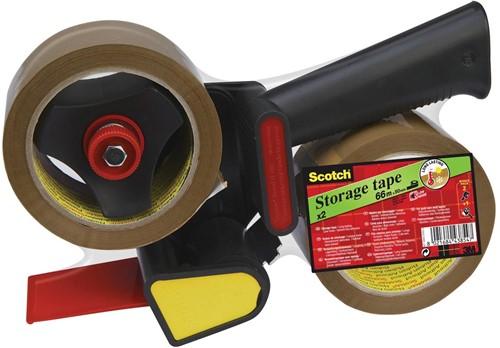 Scotch afroller H180 met 2 rollen verpakkingsplakband, ft 50 mm x 66 m, PP, bruin