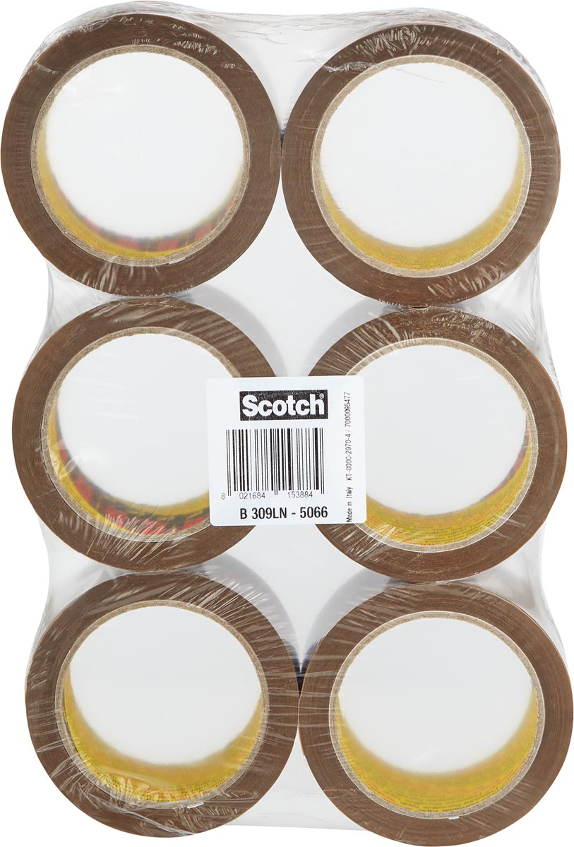Scotch geluidsarme verpakkingstape, ft 50 mm x 66 m, bruin, pak van 6 rollen