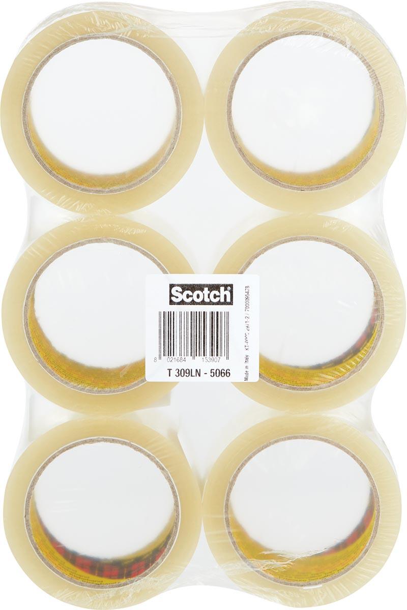 Scotch geluidsarme verpakkingstape, ft 50 mm x 66 m, transparant, pak van 6 rollen