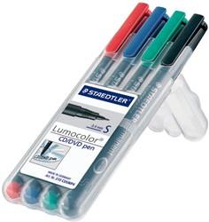 Staedtler Lumocolor CD,DVD,BDmarker, doos met 4 stuks in geassorteerde kleuren