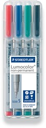 Staedtler OHP-marker Lumocolor Non-Permanent geassorteerde kleuren, box met 4 stuks, superfijn 0,4 mm