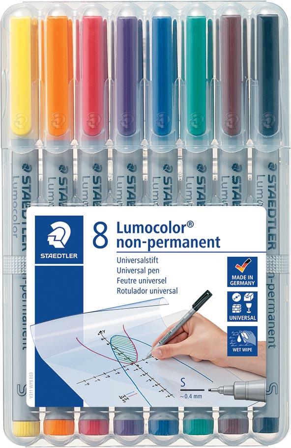 Staedtler OHP-marker Lumocolor non-permanent, superfijn 0,4 mm, doos van 8 stuks in geassorteerde kl
