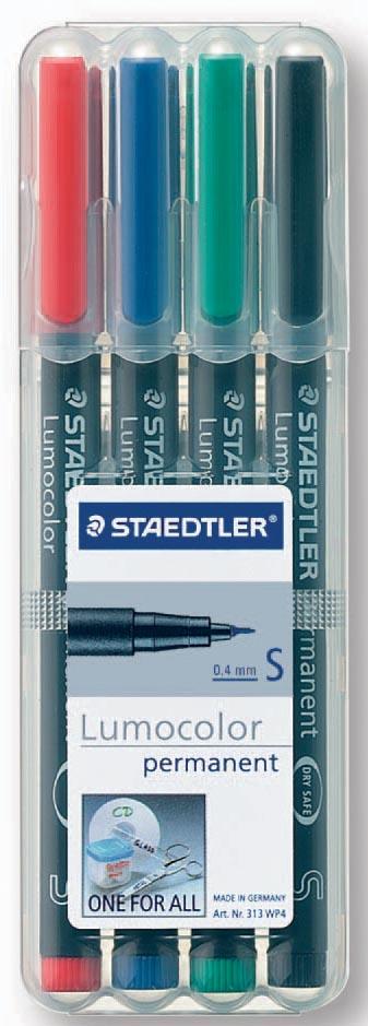 Staedtler OHP-marker Lumocolor Permanent geassorteerde kleuren, box met 4 stuks, superfijn 0,4 mm