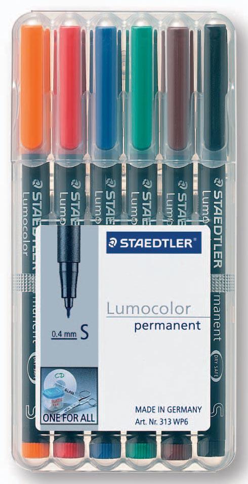 Staedtler OHP-marker Lumocolor Permanent geassorteerde kleuren, box met 6 stuks, superfijn 0,4 mm