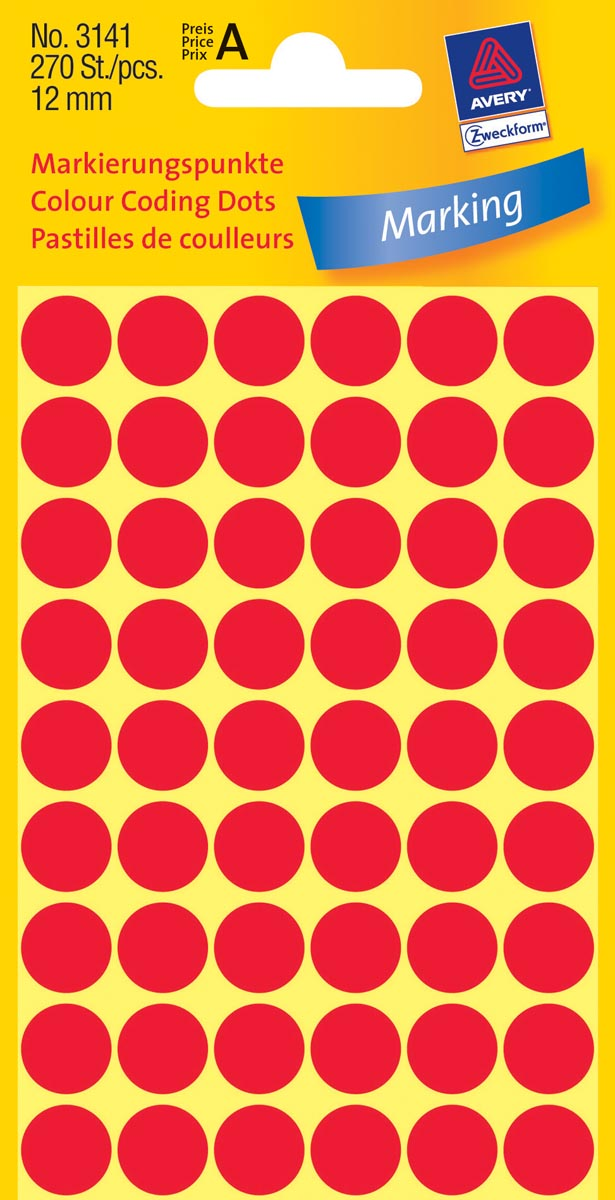 Avery Ronde etiketten diameter 12 mm, rood, 270 stuks