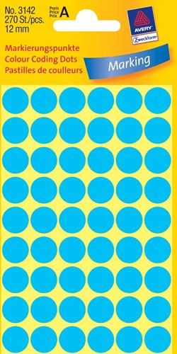 Avery Ronde etiketten diameter 12 mm, blauw, 270 stuks