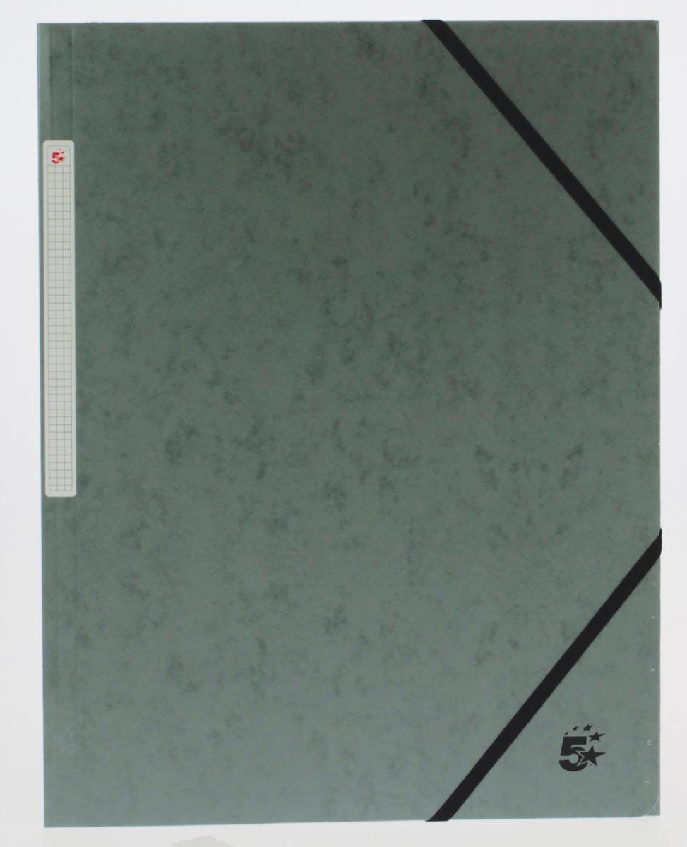5 Star elastomap 3 kleppen, grijs, pak van 10