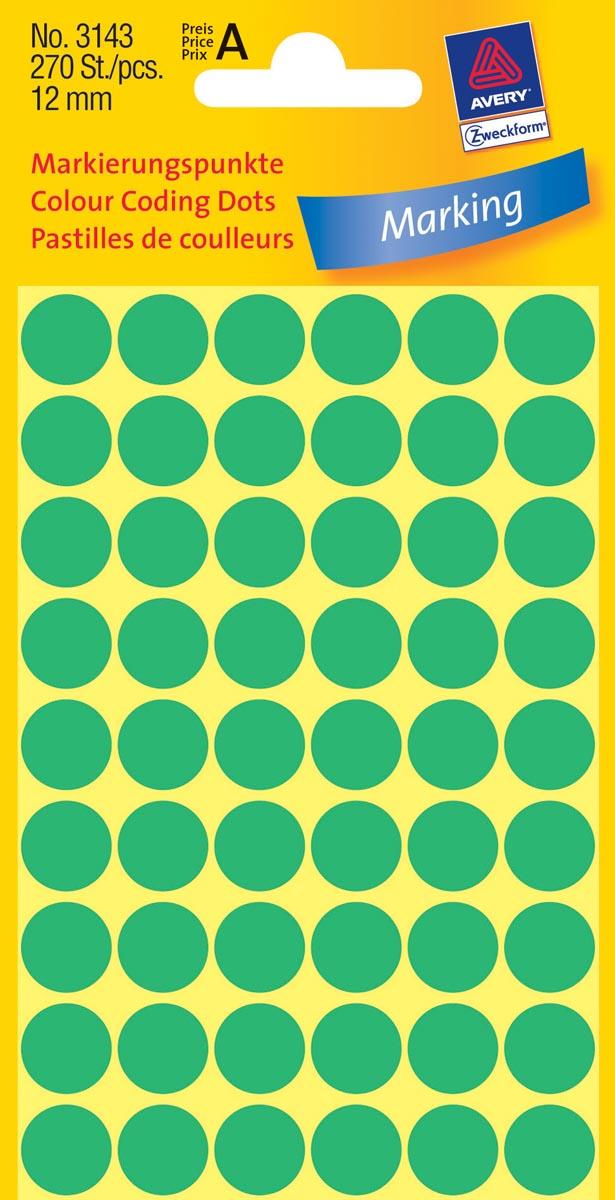 Avery Ronde etiketten diameter 12 mm, groen, 270 stuks