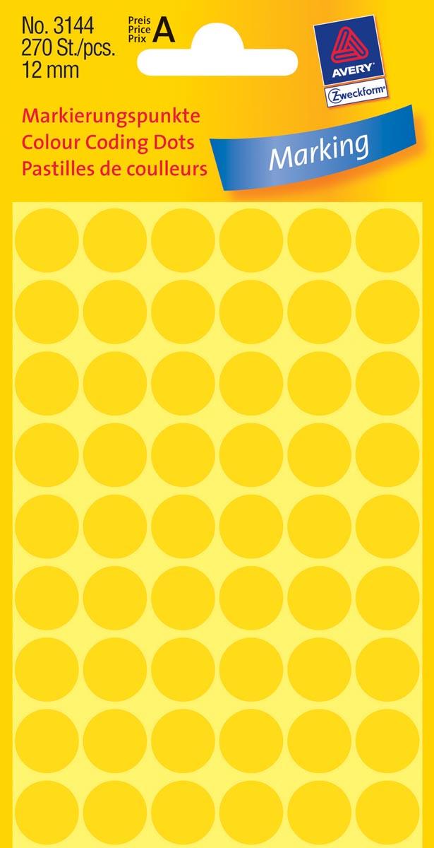 Avery Ronde etiketten diameter 12 mm, geel, 270 stuks