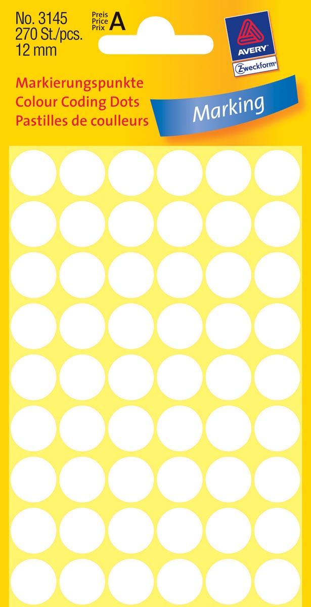 Avery Ronde etiketten diameter 12 mm, wit, 270 stuks