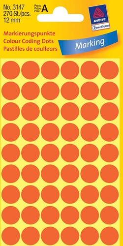 Avery Etiketten diameter: 12 mm, 270 etiketten per doos, 54 etiketten per vel, kleur: rood.